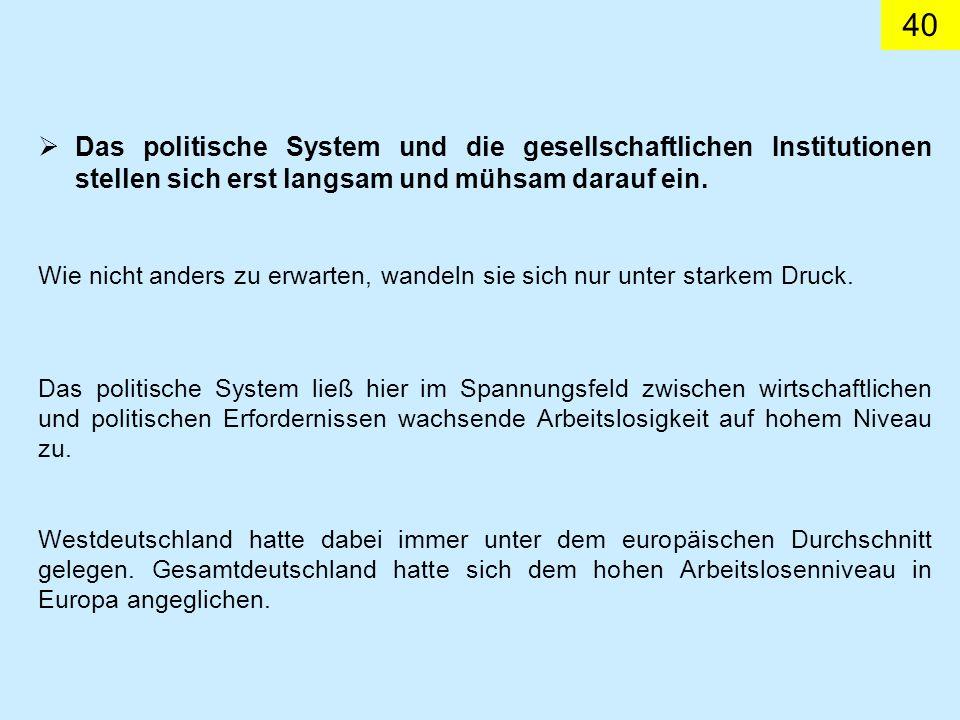 40 Das politische System und die gesellschaftlichen Institutionen stellen sich erst langsam und mühsam darauf ein.