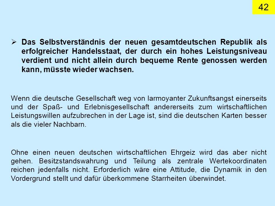 42 Das Selbstverständnis der neuen gesamtdeutschen Republik als erfolgreicher Handelsstaat, der durch ein hohes Leistungsniveau verdient und nicht allein durch bequeme Rente genossen werden kann, müsste wieder wachsen.