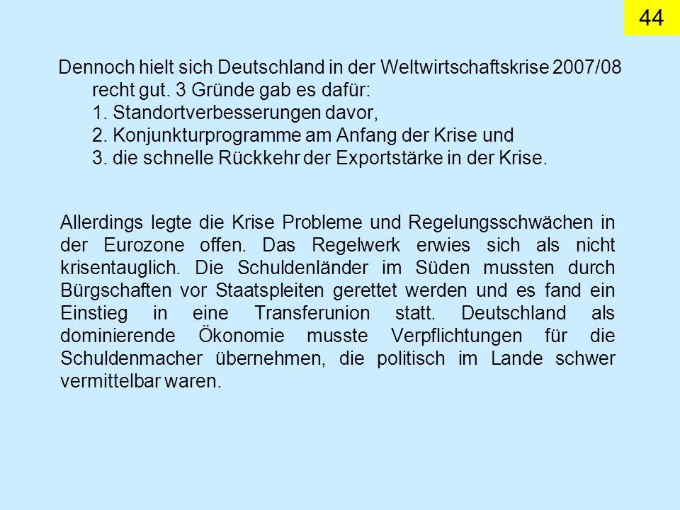 Dennoch hielt sich Deutschland in der Weltwirtschaftskrise 2007/08 recht gut.