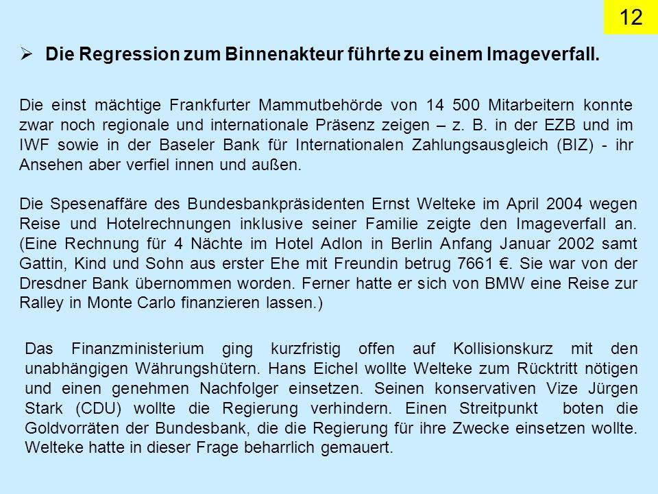 12 Die Regression zum Binnenakteur führte zu einem Imageverfall. Die einst mächtige Frankfurter Mammutbehörde von 14 500 Mitarbeitern konnte zwar noch