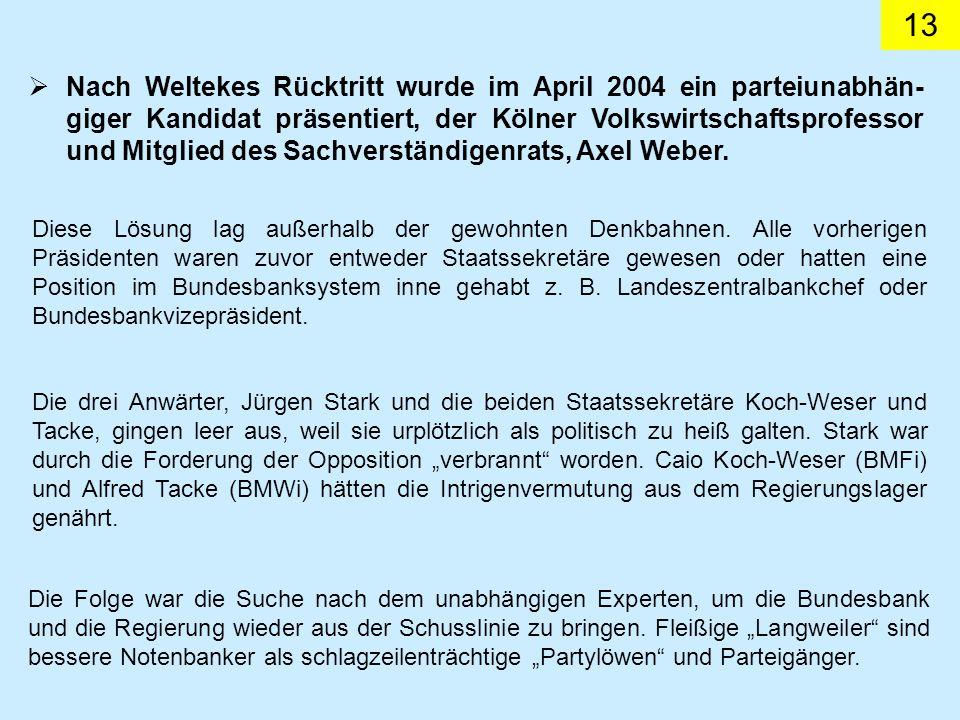 13 Nach Weltekes Rücktritt wurde im April 2004 ein parteiunabhän- giger Kandidat präsentiert, der Kölner Volkswirtschaftsprofessor und Mitglied des Sa