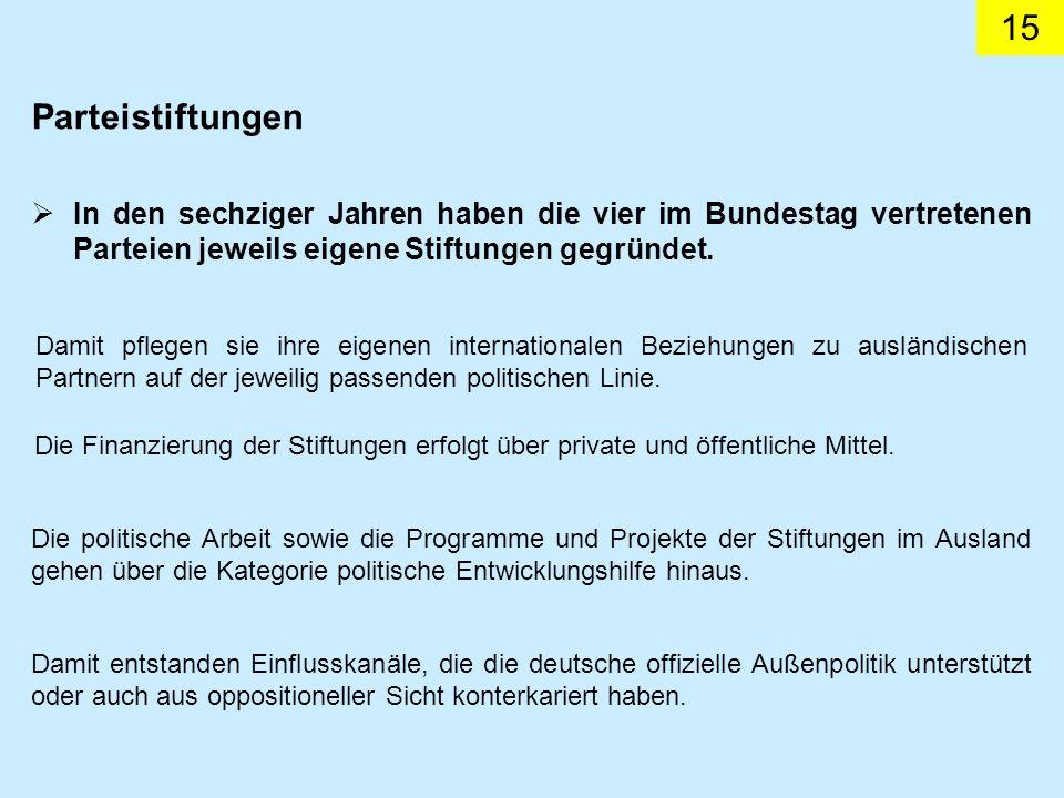 15 In den sechziger Jahren haben die vier im Bundestag vertretenen Parteien jeweils eigene Stiftungen gegründet. Damit pflegen sie ihre eigenen intern
