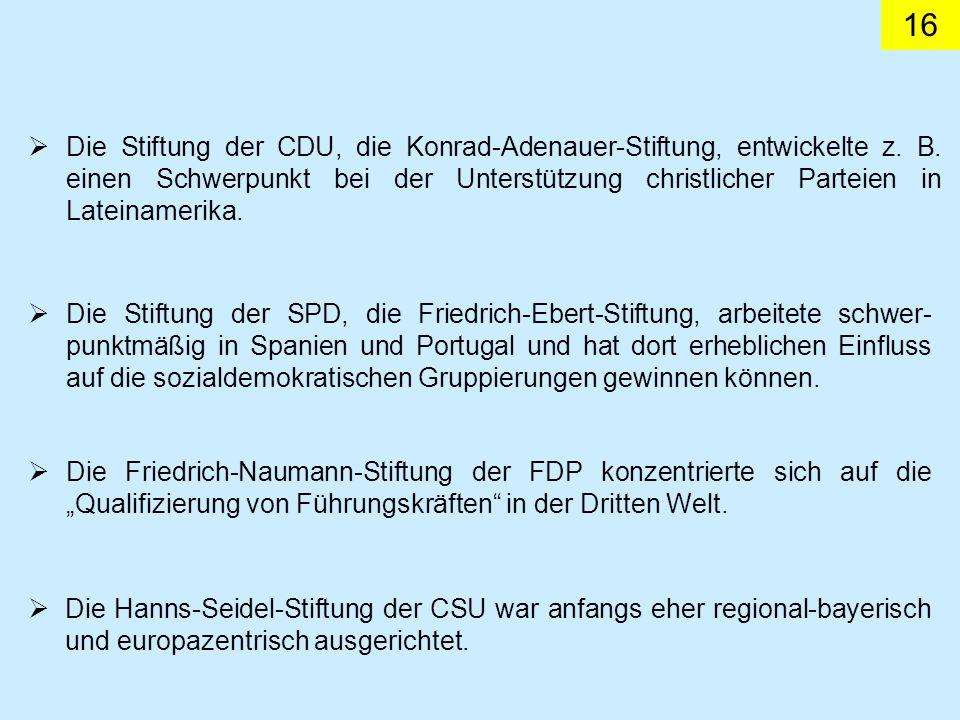 16 Die Stiftung der CDU, die Konrad-Adenauer-Stiftung, entwickelte z. B. einen Schwerpunkt bei der Unterstützung christlicher Parteien in Lateinamerik