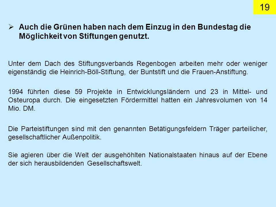 19 Unter dem Dach des Stiftungsverbands Regenbogen arbeiten mehr oder weniger eigenständig die Heinrich-Böll-Stiftung, der Buntstift und die Frauen-An
