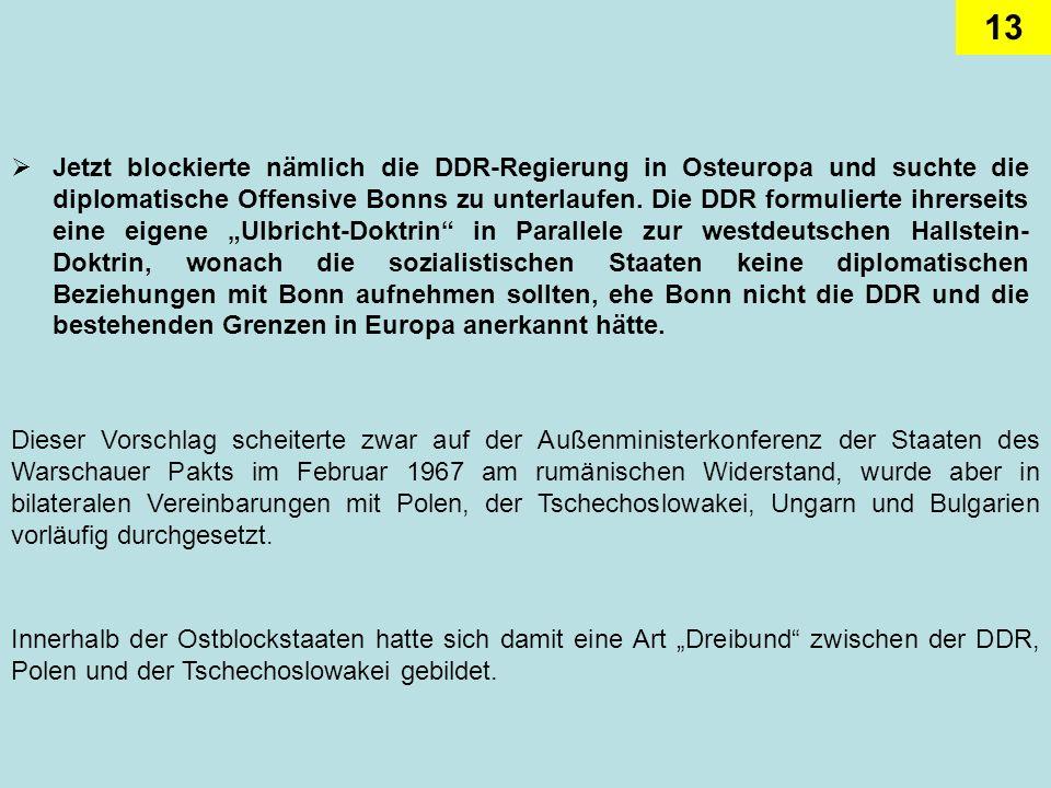 13 Jetzt blockierte nämlich die DDR-Regierung in Osteuropa und suchte die diplomatische Offensive Bonns zu unterlaufen. Die DDR formulierte ihrerseits