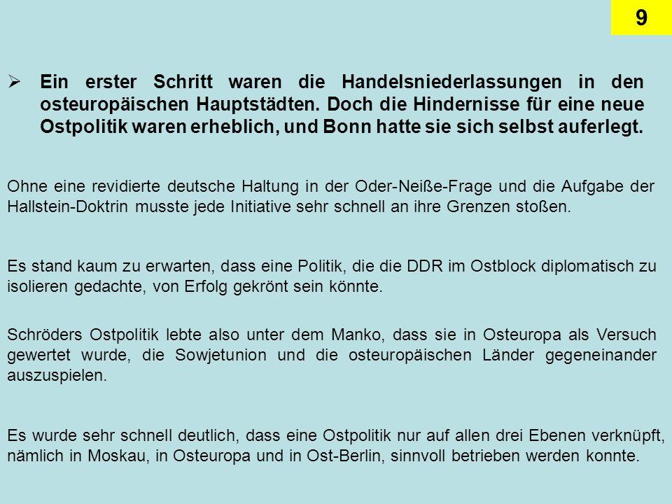 9 Ein erster Schritt waren die Handelsniederlassungen in den osteuropäischen Hauptstädten. Doch die Hindernisse für eine neue Ostpolitik waren erhebli