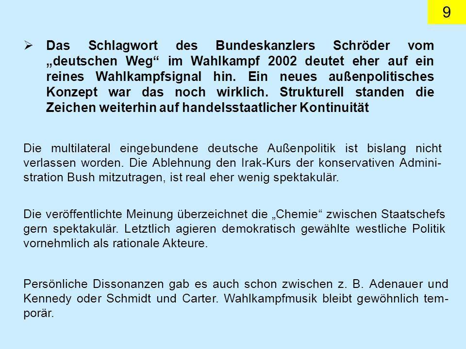 9 Das Schlagwort des Bundeskanzlers Schröder vom deutschen Weg im Wahlkampf 2002 deutet eher auf ein reines Wahlkampfsignal hin.