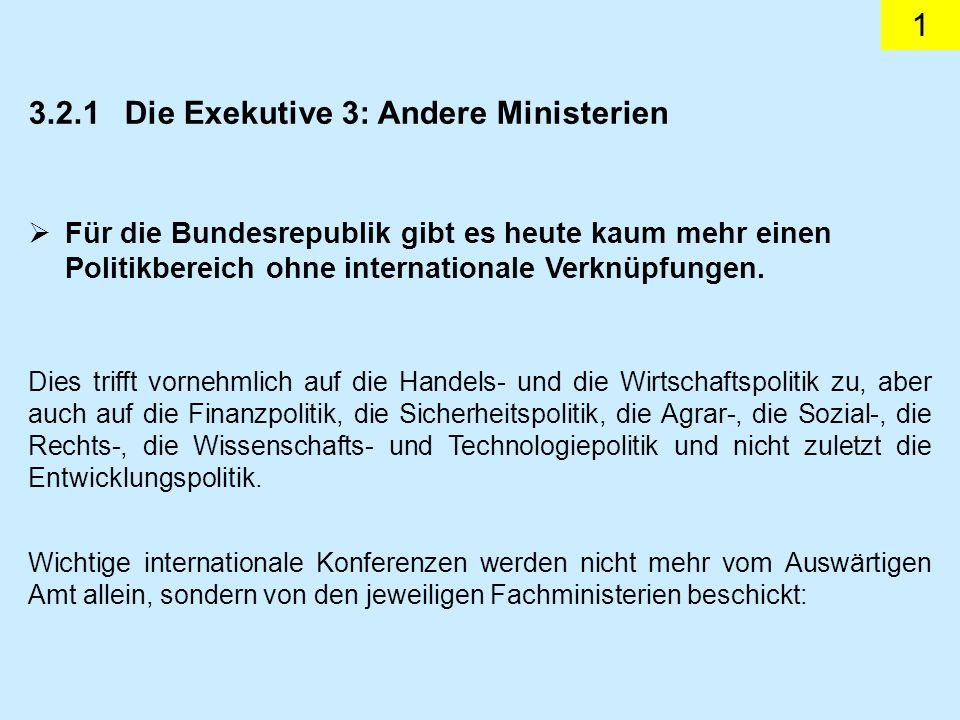 1 3.2.1Die Exekutive 3: Andere Ministerien Für die Bundesrepublik gibt es heute kaum mehr einen Politikbereich ohne internationale Verknüpfungen.