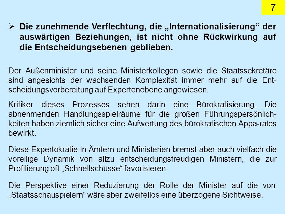 7 Die zunehmende Verflechtung, die Internationalisierung der auswärtigen Beziehungen, ist nicht ohne Rückwirkung auf die Entscheidungsebenen geblieben.