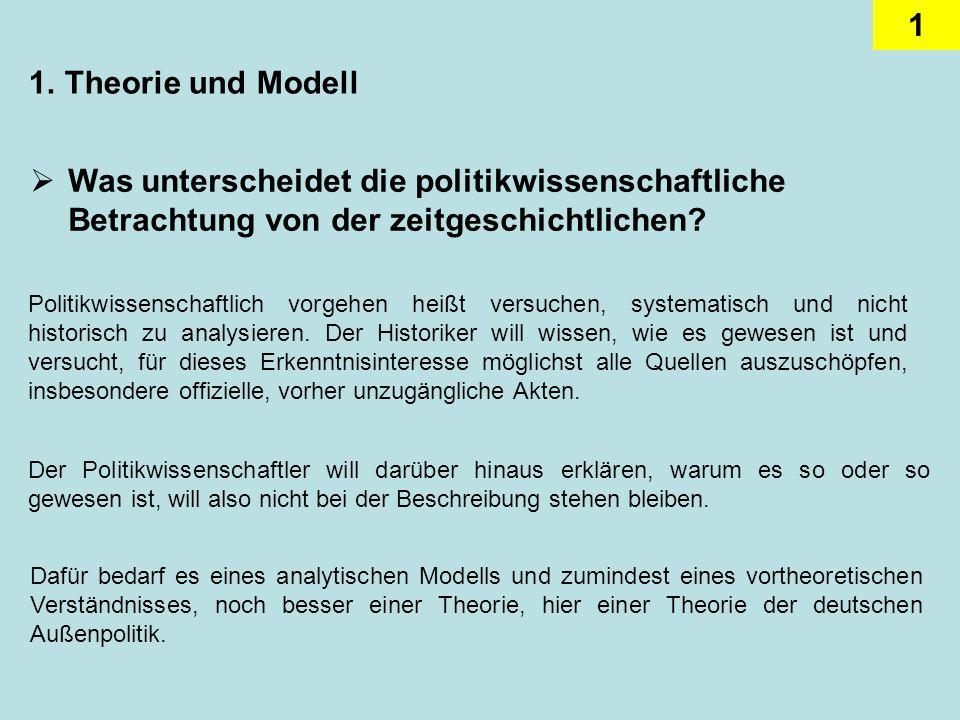 1 1.Theorie und Modell Was unterscheidet die politikwissenschaftliche Betrachtung von der zeitgeschichtlichen? Politikwissenschaftlich vorgehen heißt