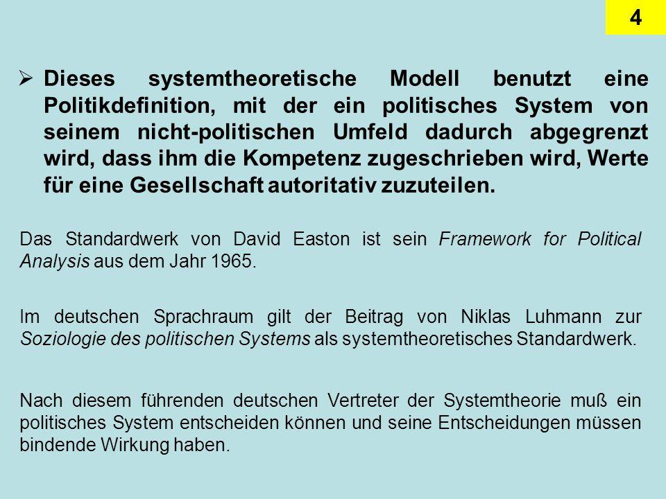 4 Dieses systemtheoretische Modell benutzt eine Politikdefinition, mit der ein politisches System von seinem nicht-politischen Umfeld dadurch abgegren