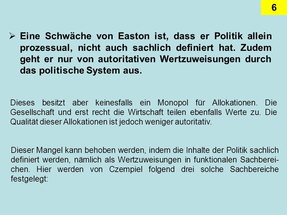 6 Eine Schwäche von Easton ist, dass er Politik allein prozessual, nicht auch sachlich definiert hat. Zudem geht er nur von autoritativen Wertzuweisun