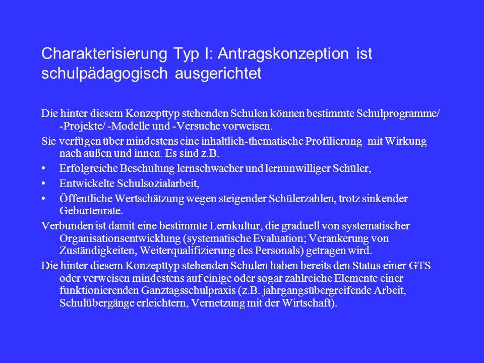 Charakterisierung Typ I: Antragskonzeption ist schulpädagogisch ausgerichtet Die hinter diesem Konzepttyp stehenden Schulen können bestimmte Schulprogramme/ -Projekte/ -Modelle und -Versuche vorweisen.