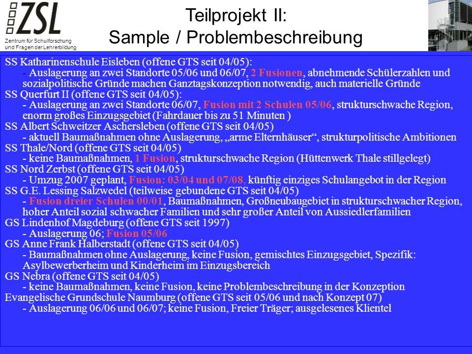 Teilprojekt III: Summative Evaluation Teilprojekt III: Summative Evaluation Zentrum für Schulforschung und Fragen der Lehrerbildung SS Katharinenschule Eisleben (offene GTS seit 04/05): - Auslagerung an zwei Standorte 05/06 und 06/07, 2 Fusionen, abnehmende Schülerzahlen und sozialpolitische Gründe machen Ganztagskonzeption notwendig, auch materielle Gründe SS Querfurt II (offene GTS seit 04/05): - Auslagerung an zwei Standorte 06/07, Fusion mit 2 Schulen 05/06, strukturschwache Region, enorm großes Einzugsgebiet (Fahrdauer bis zu 51 Minuten ) SS Albert Schweitzer Aschersleben (offene GTS seit 04/05) - aktuell Baumaßnahmen ohne Auslagerung, arme Elternhäuser, strukturpolitische Ambitionen SS Thale/Nord (offene GTS seit 04/05) - keine Baumaßnahmen, 1 Fusion, strukturschwache Region (Hüttenwerk Thale stillgelegt) SS Nord Zerbst (offene GTS seit 04/05) - Umzug 2007 geplant, Fusion: 03/04 und 07/08, künftig einziges Schulangebot in der Region SS G.E.