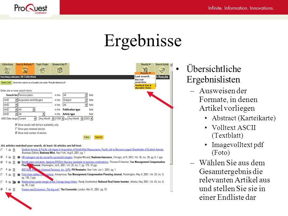 Ergebnisse Übersichtliche Ergebnislisten –Ausweisen der Formate, in denen Artikel vorliegen Abstract (Karteikarte) Volltext ASCII (Textblatt) Imagevol