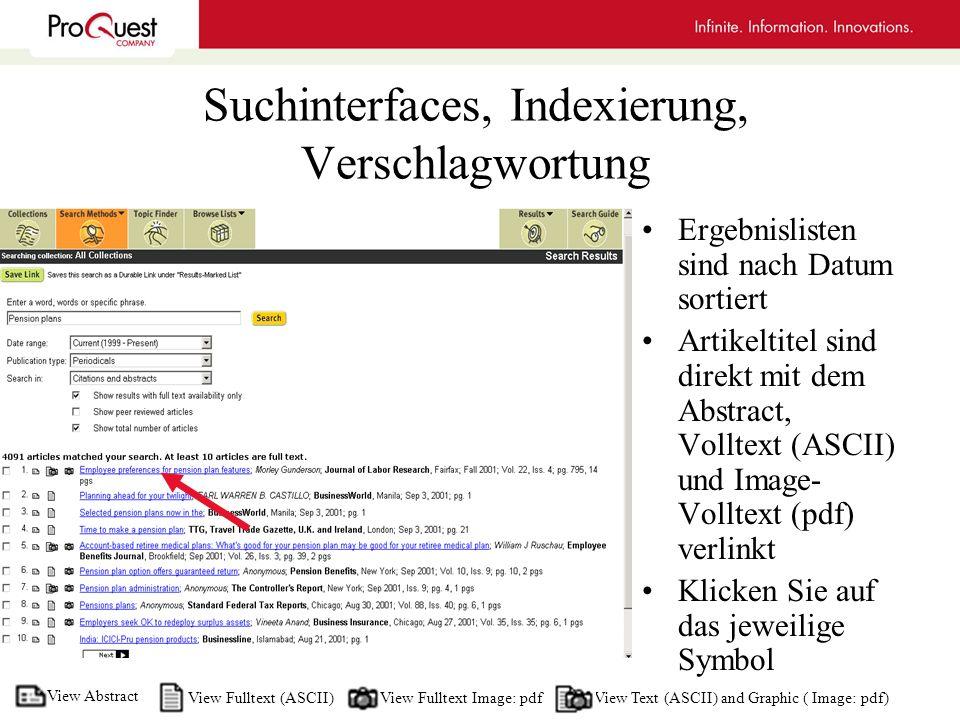 Suchinterfaces, Indexierung, Verschlagwortung Ergebnislisten sind nach Datum sortiert Artikeltitel sind direkt mit dem Abstract, Volltext (ASCII) und