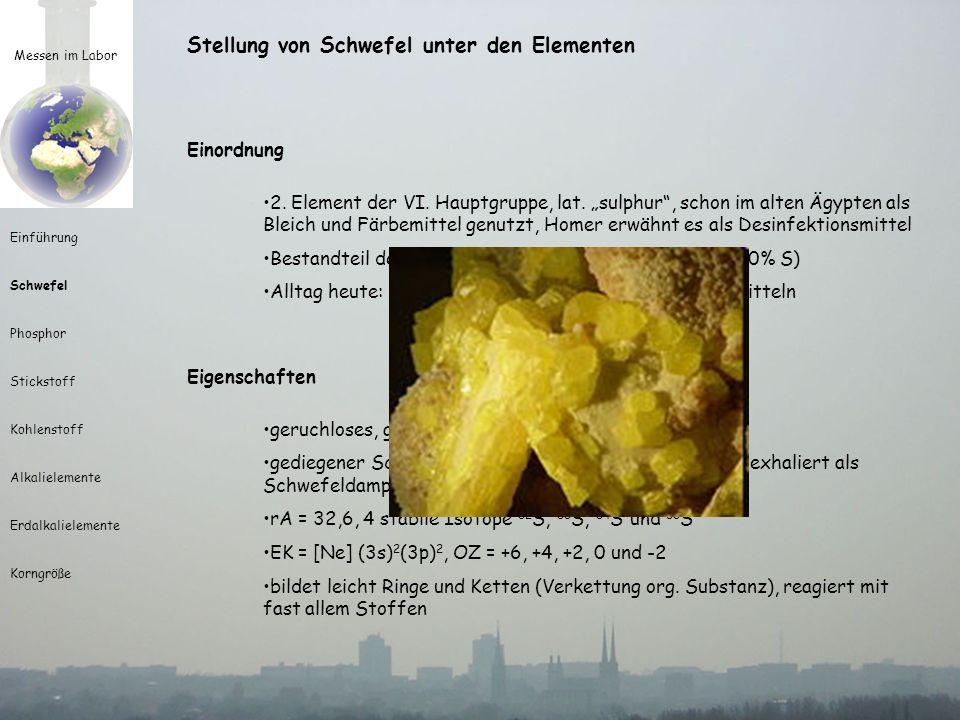 Messen im Labor Einführung Schwefel Phosphor Stickstoff Kohlenstoff Alkalielemente Erdalkalielemente Korngröße Stellung von Schwefel unter den Element
