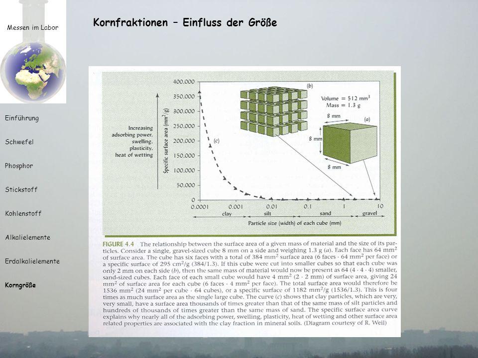 Messen im Labor Einführung Schwefel Phosphor Stickstoff Kohlenstoff Alkalielemente Erdalkalielemente Korngröße Kornfraktionen – Einfluss der Größe