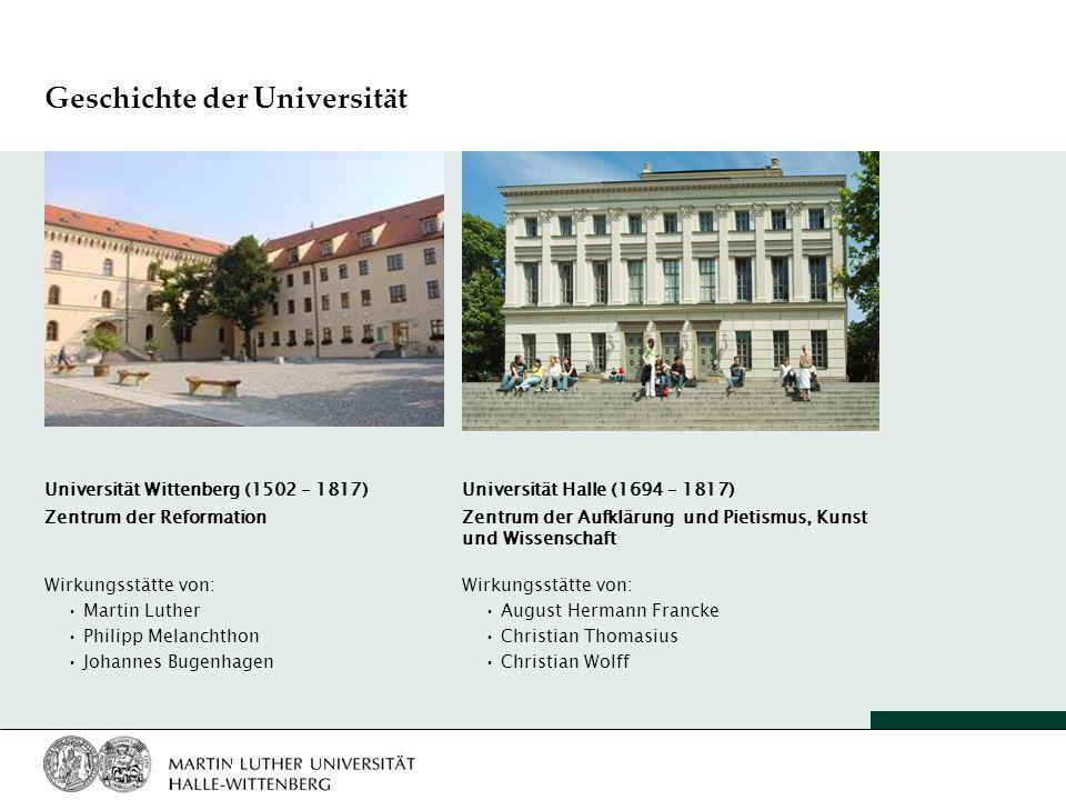 Geschichte der Universität Universität Wittenberg (1502 – 1817) Zentrum der Reformation Wirkungsstätte von: Martin Luther Philipp Melanchthon Johannes