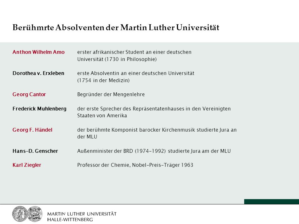 Berühmrte Absolventen der Martin Luther Universität Anthon Wilhelm Amo erster afrikanischer Student an einer deutschen Universität (1730 in Philosophi