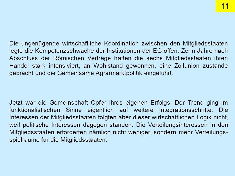 11 Die ungenügende wirtschaftliche Koordination zwischen den Mitgliedsstaaten legte die Kompetenzschwäche der Institutionen der EG offen.
