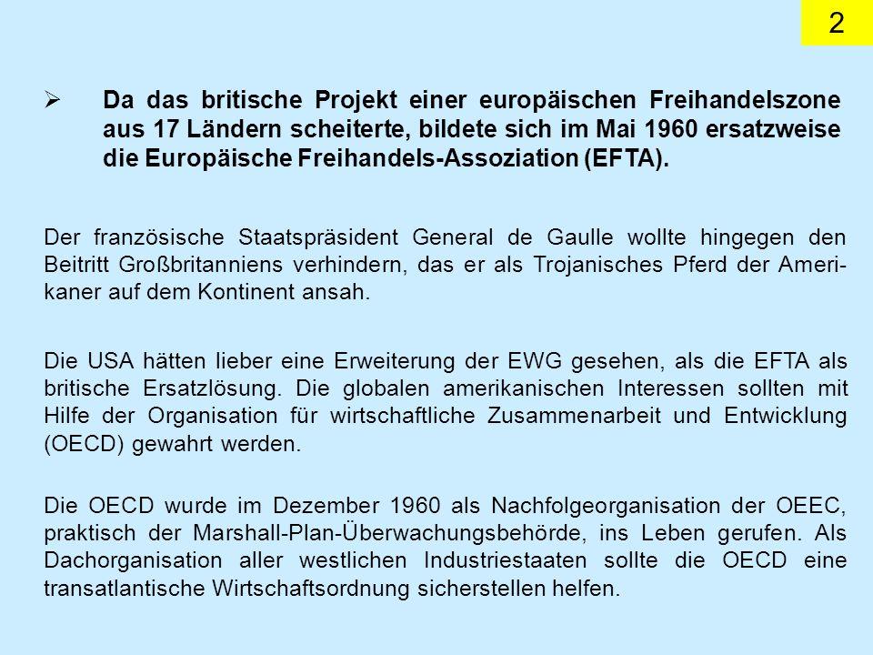 2 Da das britische Projekt einer europäischen Freihandelszone aus 17 Ländern scheiterte, bildete sich im Mai 1960 ersatzweise die Europäische Freihandels-Assoziation (EFTA).