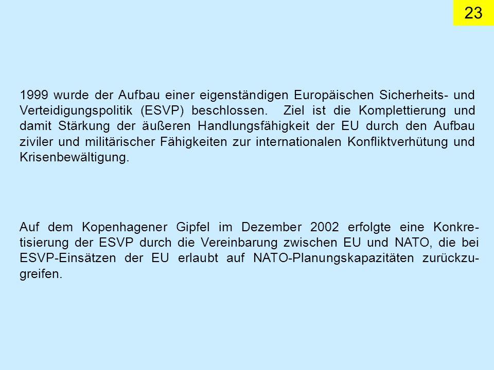 23 1999 wurde der Aufbau einer eigenständigen Europäischen Sicherheits- und Verteidigungspolitik (ESVP) beschlossen. Ziel ist die Komplettierung und d