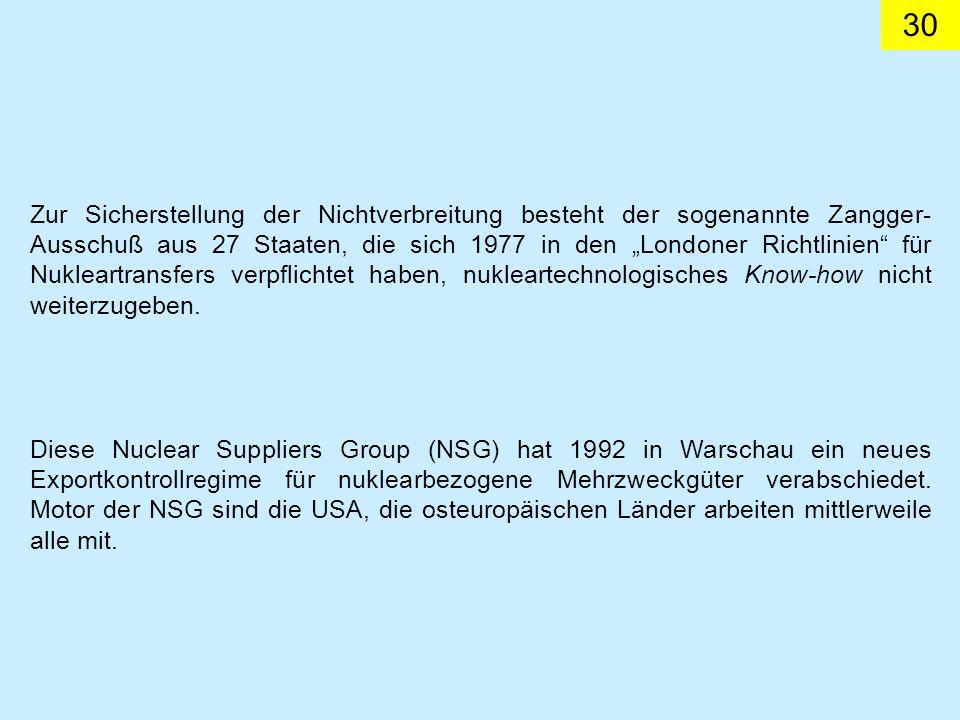 30 Diese Nuclear Suppliers Group (NSG) hat 1992 in Warschau ein neues Exportkontrollregime für nuklearbezogene Mehrzweckgüter verabschiedet. Motor der