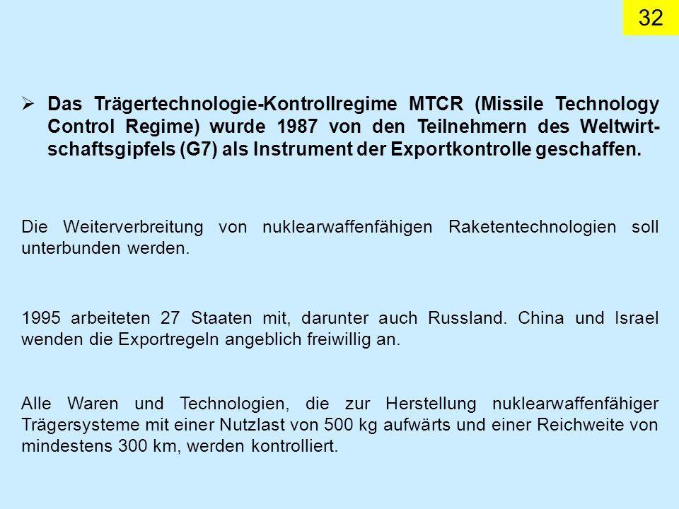 32 Das Trägertechnologie-Kontrollregime MTCR (Missile Technology Control Regime) wurde 1987 von den Teilnehmern des Weltwirt- schaftsgipfels (G7) als