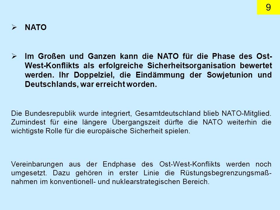 10 Das Beharrungsvermögen der NATO-Institutionen und die amerikanische Dominanz dürften für einige Jahre noch als Kitt für die NATO ausreichen.
