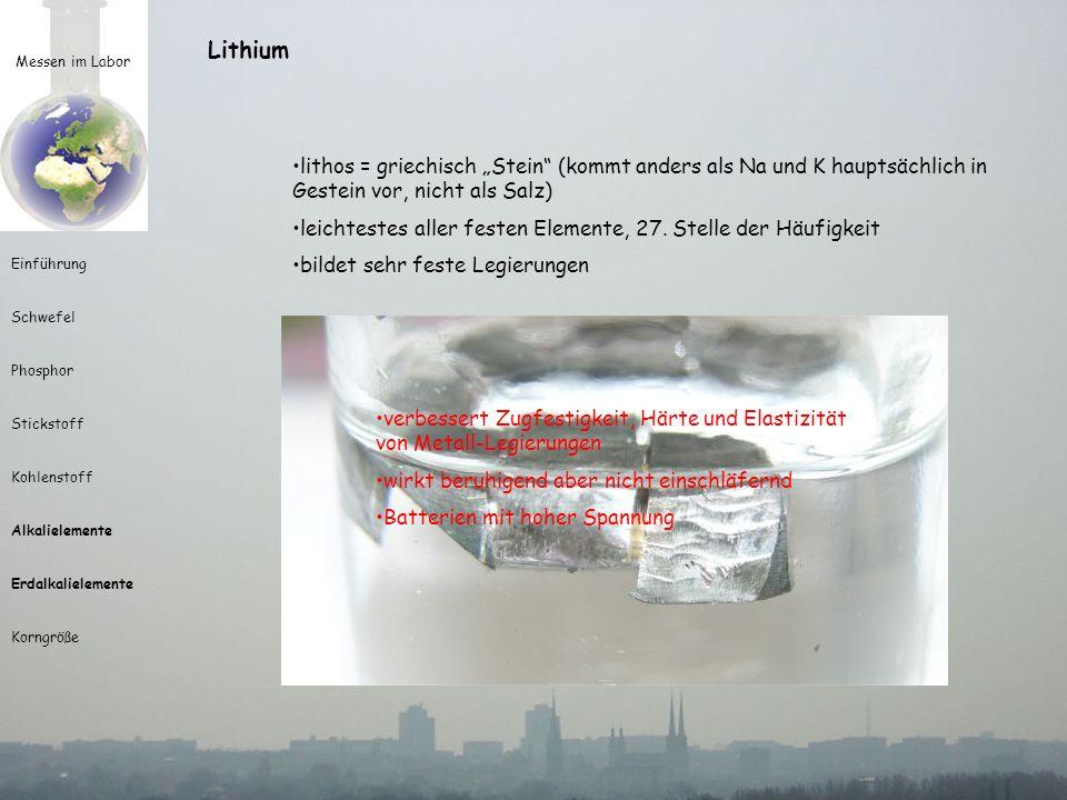 Messen im Labor Einführung Schwefel Phosphor Stickstoff Kohlenstoff Alkalielemente Erdalkalielemente Korngröße Lithium lithos = griechisch Stein (komm