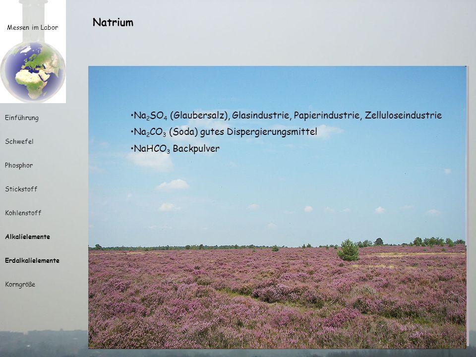 Messen im Labor Einführung Schwefel Phosphor Stickstoff Kohlenstoff Alkalielemente Erdalkalielemente Korngröße Natrium natron = arabisch für Soda (wad