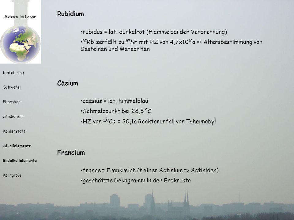Messen im Labor Einführung Schwefel Phosphor Stickstoff Kohlenstoff Alkalielemente Erdalkalielemente Korngröße Rubidium rubidus = lat. dunkelrot (Flam