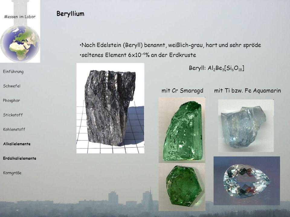 Messen im Labor Einführung Schwefel Phosphor Stickstoff Kohlenstoff Alkalielemente Erdalkalielemente Korngröße Beryllium Nach Edelstein (Beryll) benan