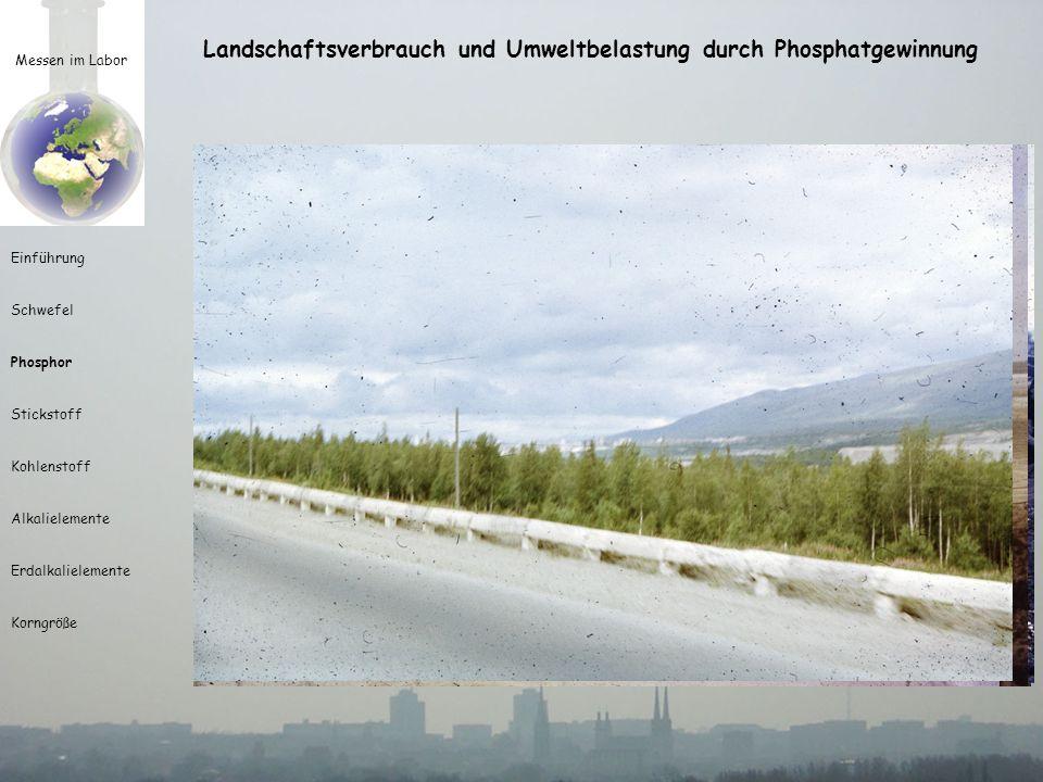 Messen im Labor Einführung Schwefel Phosphor Stickstoff Kohlenstoff Alkalielemente Erdalkalielemente Korngröße Landschaftsverbrauch und Umweltbelastun