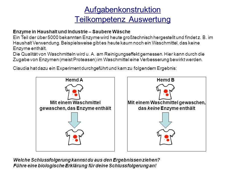 Aufgabenkonstruktion Teilkompetenz Auswertung Enzyme in Haushalt und Industrie – Saubere Wäsche Ein Teil der über 5000 bekannten Enzyme wird heute gro