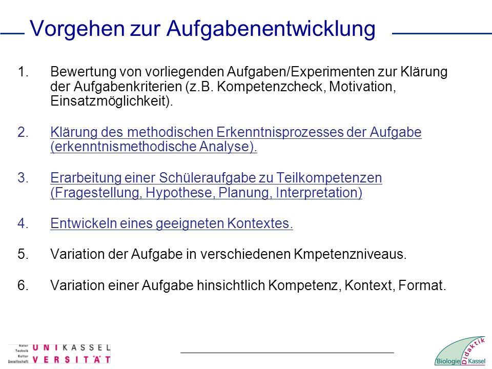 Vorgehen zur Aufgabenentwicklung 1.Bewertung von vorliegenden Aufgaben/Experimenten zur Klärung der Aufgabenkriterien (z.B. Kompetenzcheck, Motivation