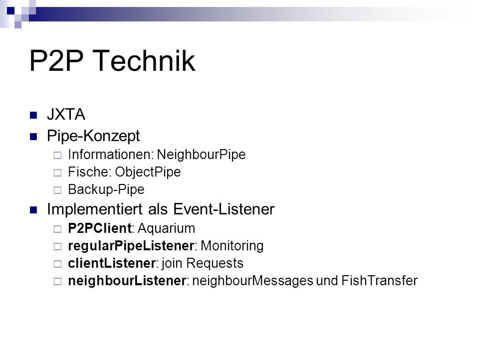 P2P Technik JXTA Pipe-Konzept Informationen: NeighbourPipe Fische: ObjectPipe Backup-Pipe Implementiert als Event-Listener P2PClient: Aquarium regularPipeListener: Monitoring clientListener: join Requests neighbourListener: neighbourMessages und FishTransfer