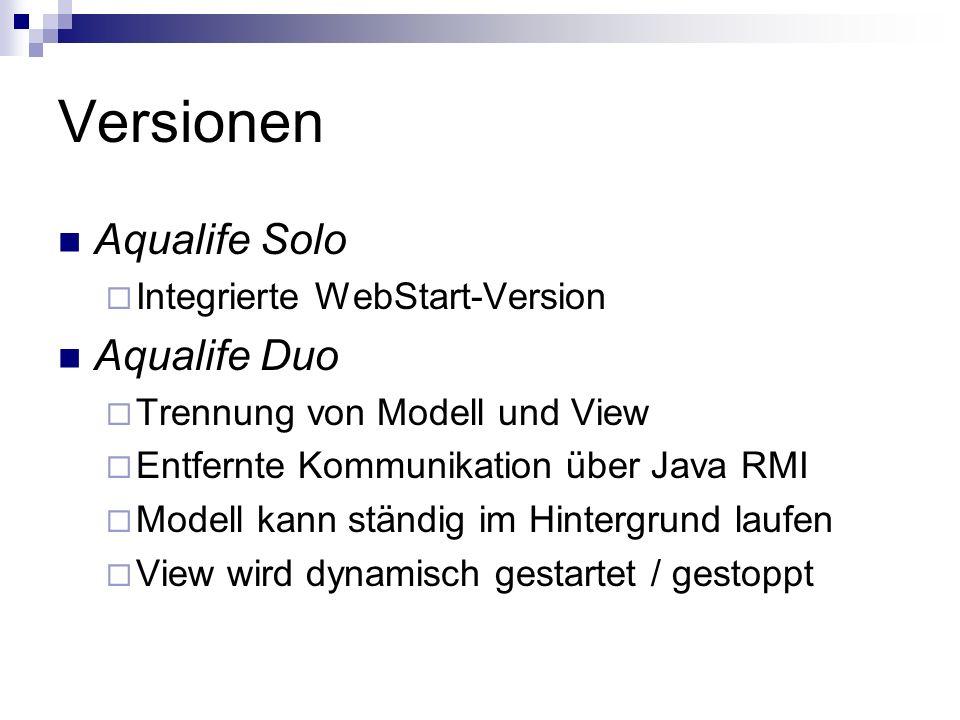 Versionen Aqualife Solo Integrierte WebStart-Version Aqualife Duo Trennung von Modell und View Entfernte Kommunikation über Java RMI Modell kann ständig im Hintergrund laufen View wird dynamisch gestartet / gestoppt