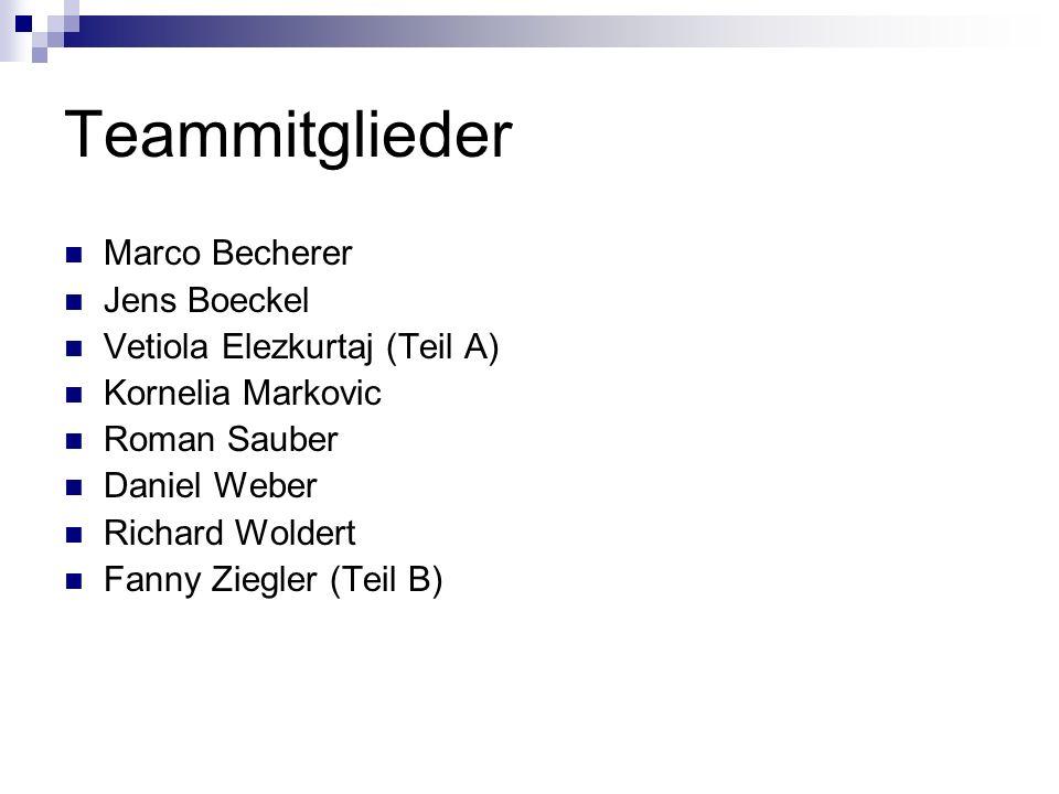 Teammitglieder Marco Becherer Jens Boeckel Vetiola Elezkurtaj (Teil A) Kornelia Markovic Roman Sauber Daniel Weber Richard Woldert Fanny Ziegler (Teil B)