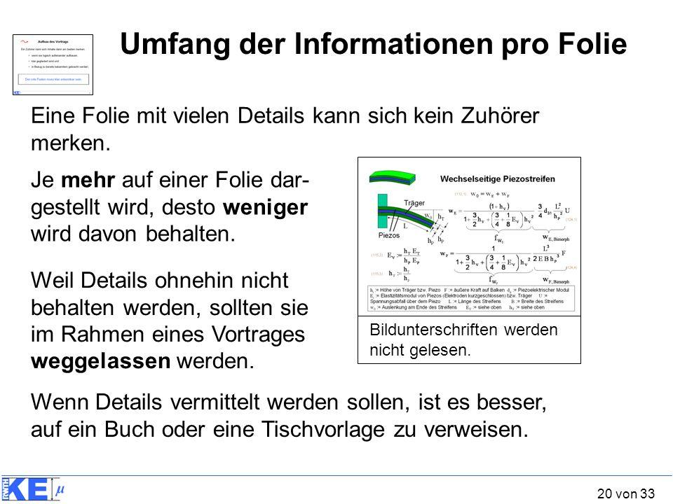 20 von 33 Umfang der Informationen pro Folie Eine Folie mit vielen Details kann sich kein Zuhörer merken. Bildunterschriften werden nicht gelesen. Je