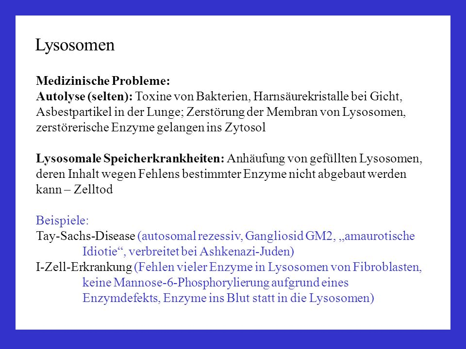 Lysosomen Medizinische Probleme: Autolyse (selten): Toxine von Bakterien, Harnsäurekristalle bei Gicht, Asbestpartikel in der Lunge; Zerstörung der Me