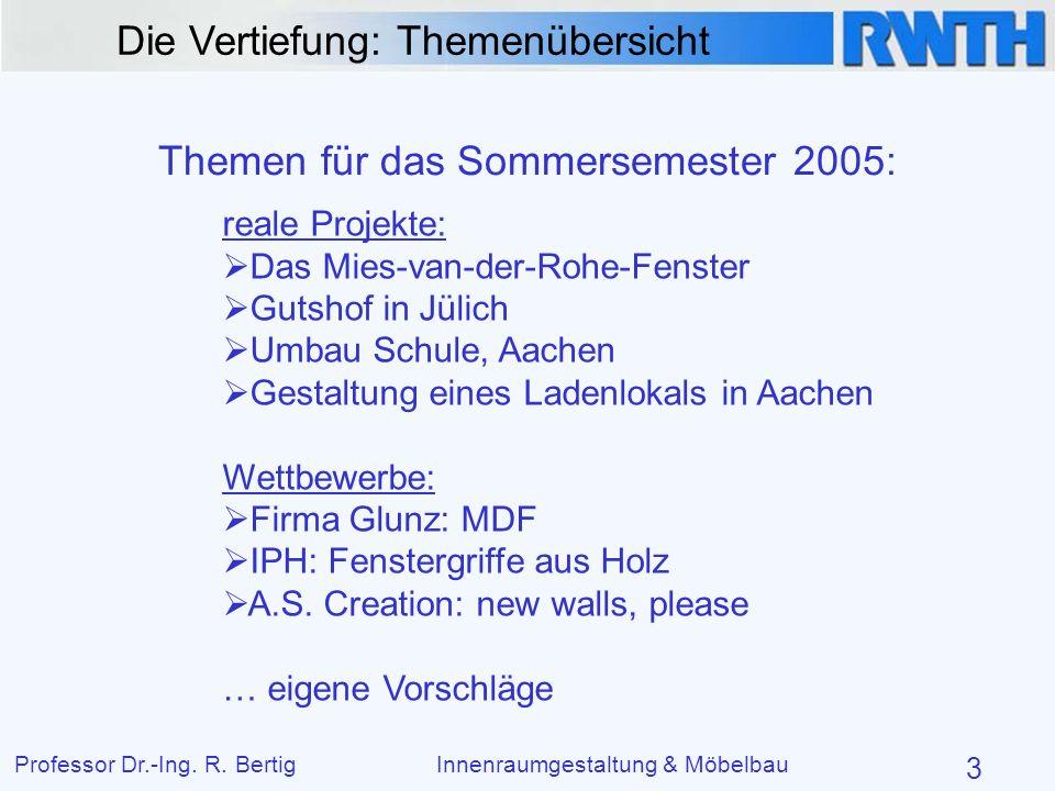 Die Vertiefung: Themenübersicht Professor Dr.-Ing. R. BertigInnenraumgestaltung & Möbelbau 3 Themen für das Sommersemester 2005: reale Projekte: Das M