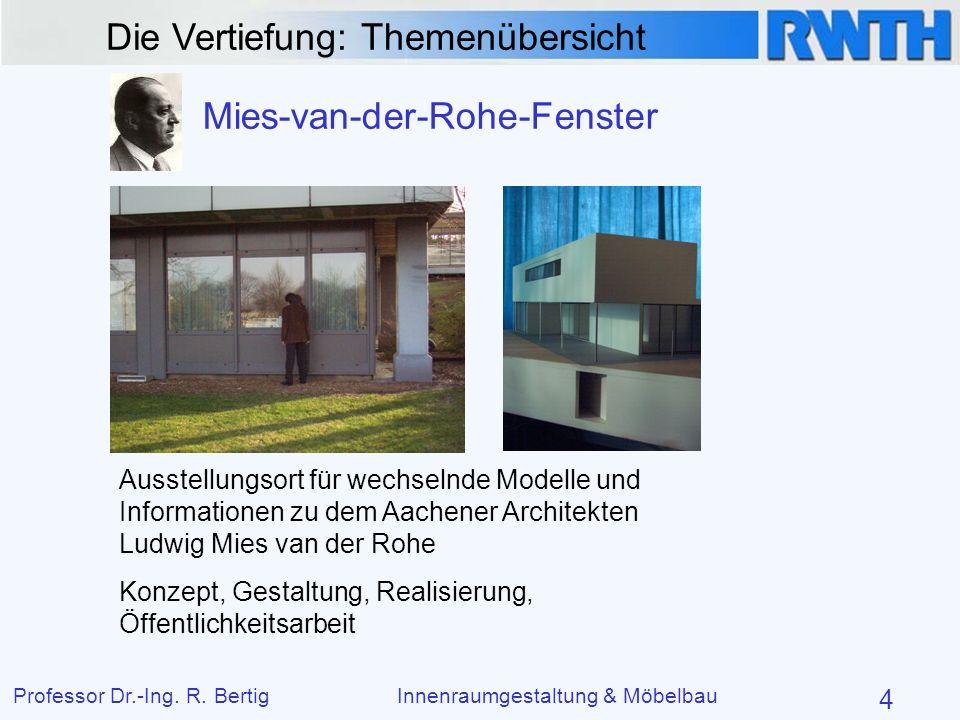 Die Vertiefung: Themenübersicht Professor Dr.-Ing. R. BertigInnenraumgestaltung & Möbelbau 4 Mies-van-der-Rohe-Fenster Ausstellungsort für wechselnde