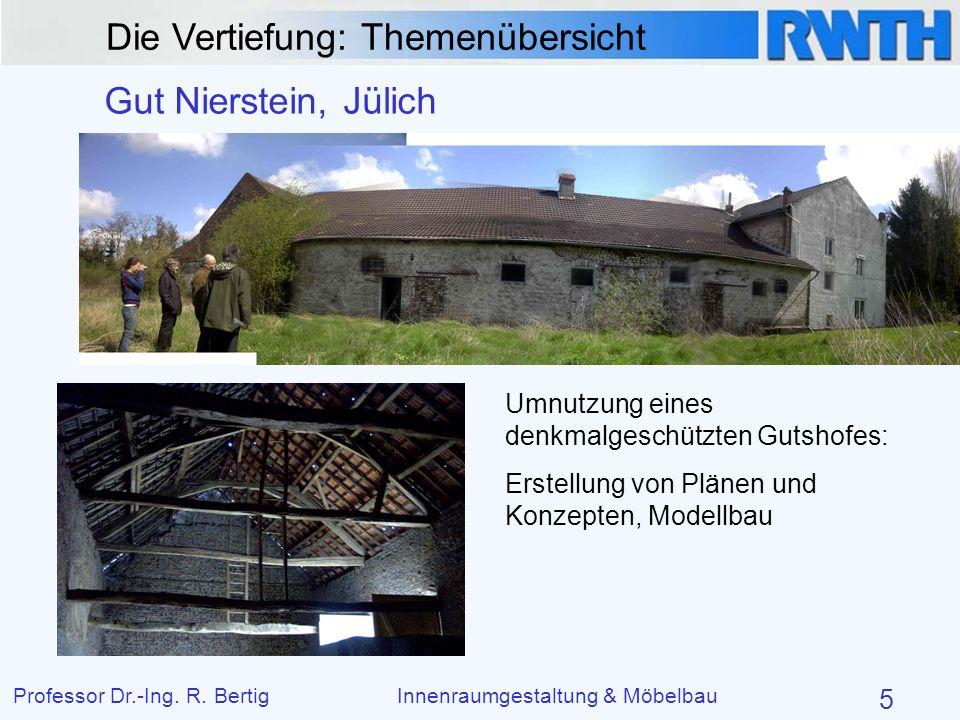 Die Vertiefung: Themenübersicht Professor Dr.-Ing. R. BertigInnenraumgestaltung & Möbelbau 5 Gut Nierstein, Jülich Umnutzung eines denkmalgeschützten