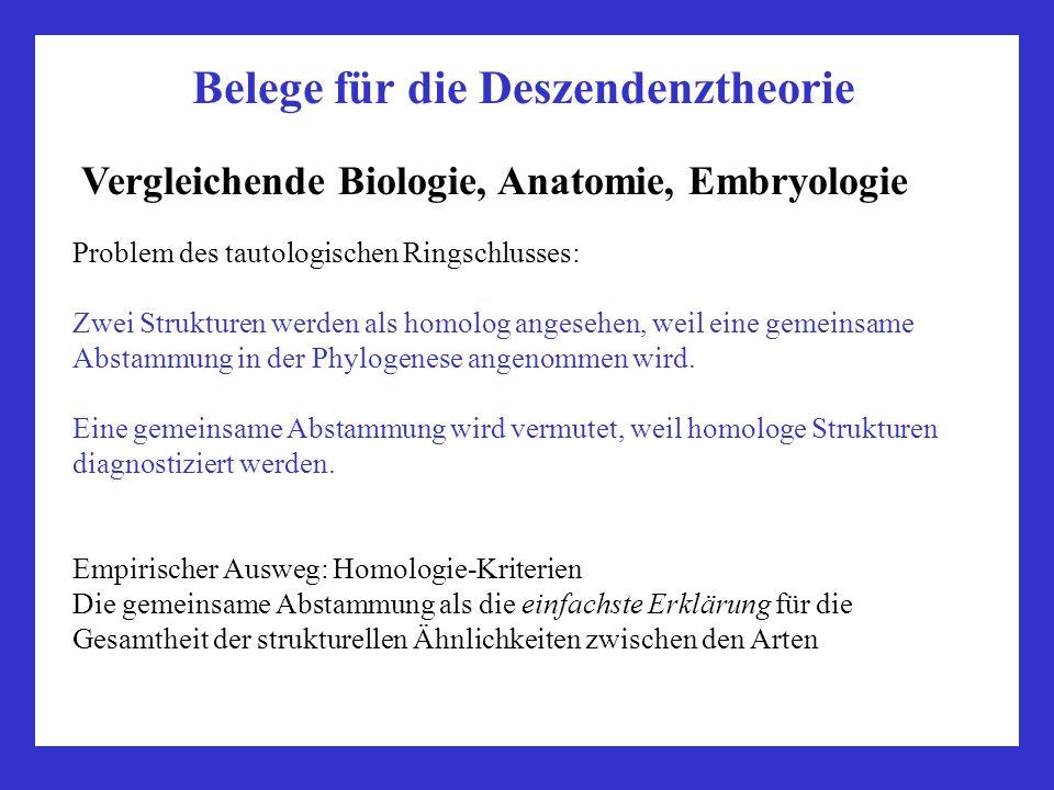 Belege für die Deszendenztheorie Vergleichende Biologie, Anatomie, Embryologie Problem des tautologischen Ringschlusses: Zwei Strukturen werden als ho
