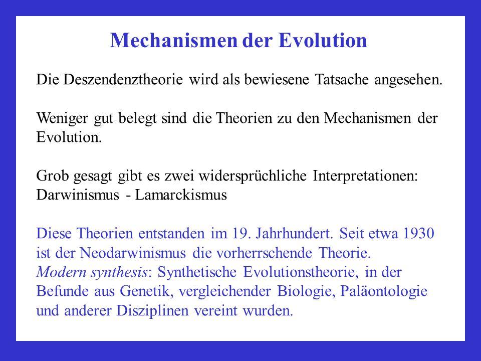Mechanismen der Evolution Die Deszendenztheorie wird als bewiesene Tatsache angesehen. Weniger gut belegt sind die Theorien zu den Mechanismen der Evo