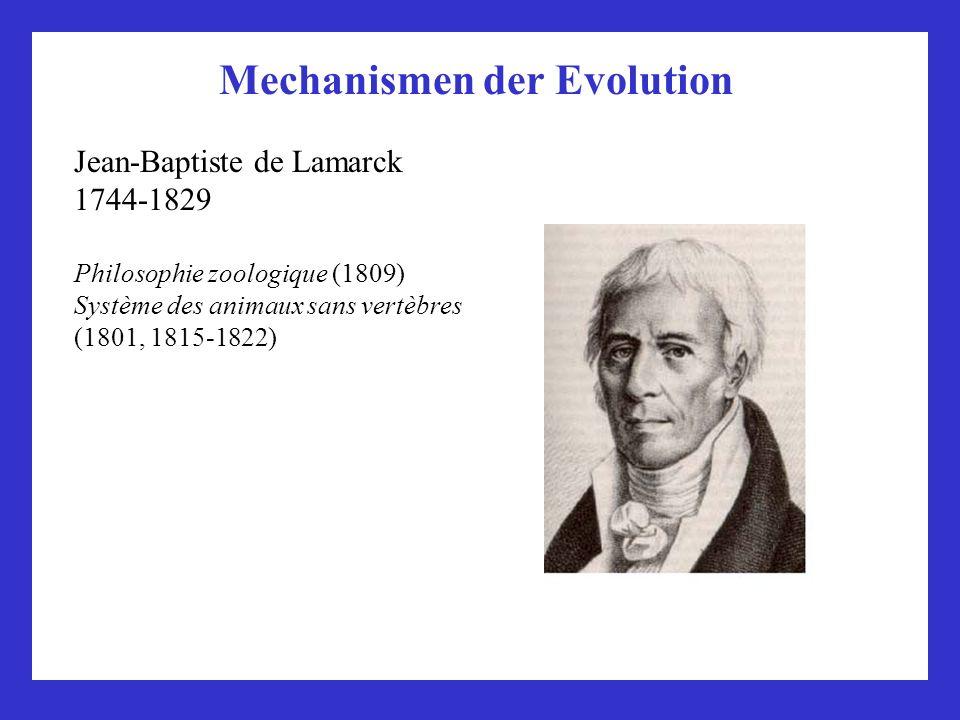 Mechanismen der Evolution Jean-Baptiste de Lamarck 1744-1829 Philosophie zoologique (1809) Système des animaux sans vertèbres (1801, 1815-1822)