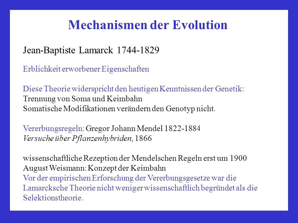 Mechanismen der Evolution Jean-Baptiste Lamarck 1744-1829 Erblichkeit erworbener Eigenschaften Diese Theorie widerspricht den heutigen Kenntnissen der