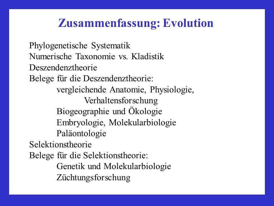 Zusammenfassung: Evolution Phylogenetische Systematik Numerische Taxonomie vs. Kladistik Deszendenztheorie Belege für die Deszendenztheorie: vergleich